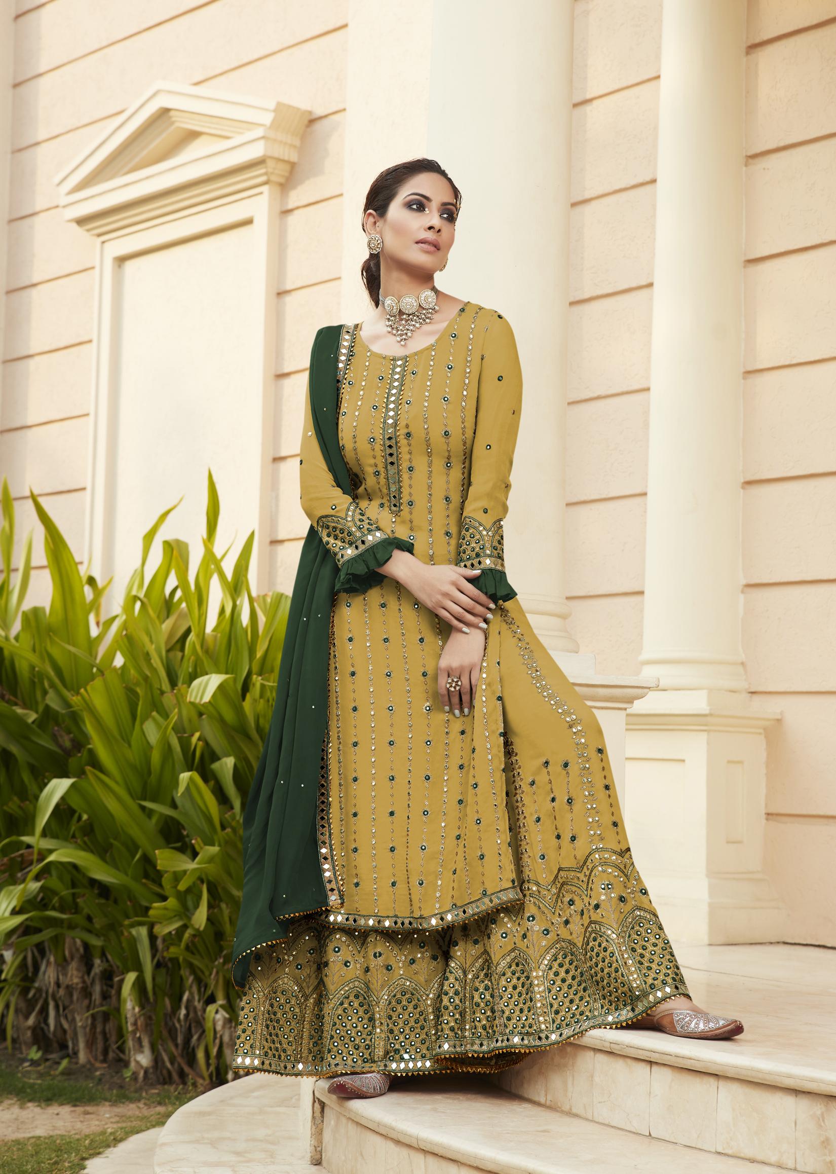 Designer Mirror Work Sharara Suits Party Wear