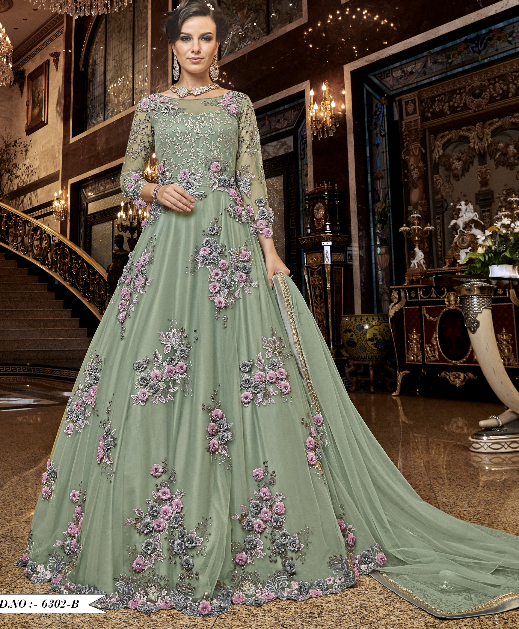 Gown For Wedding in Baby Green