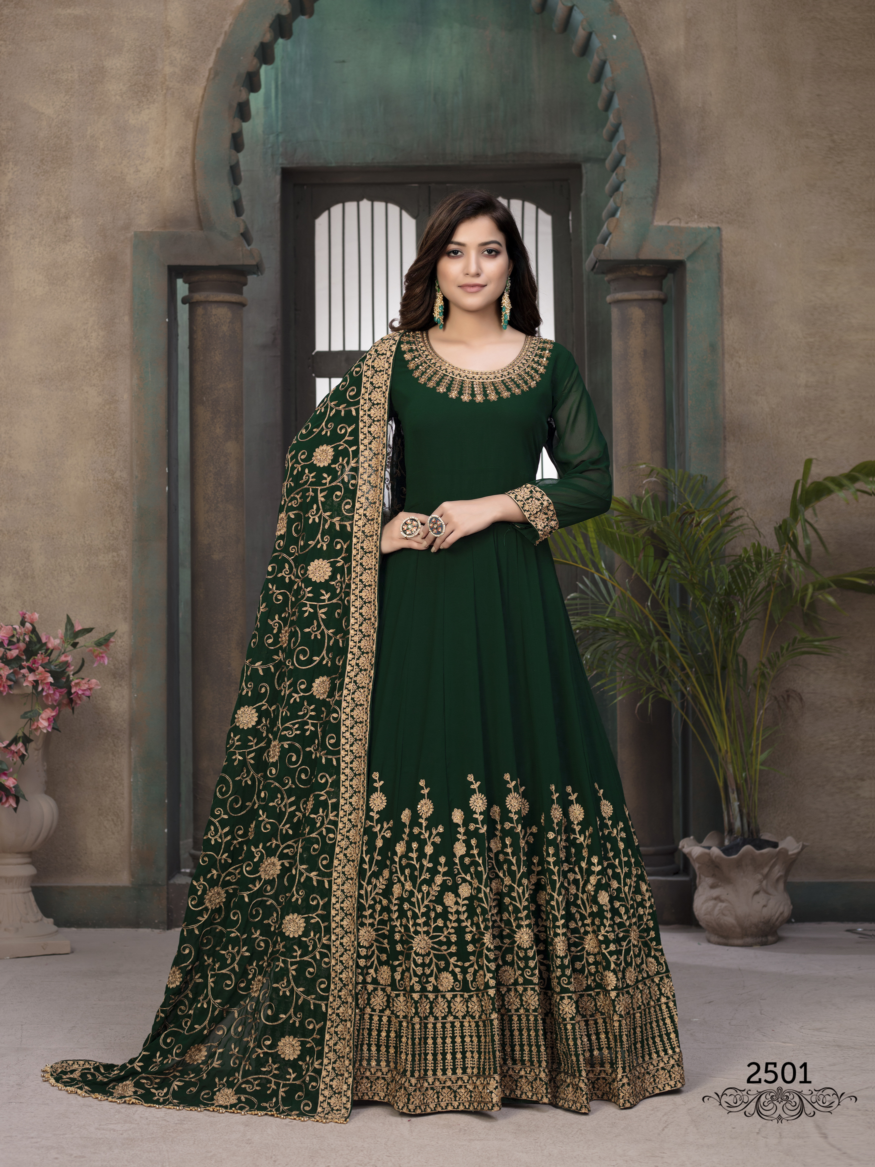 Green Colour Embroidered Gown Dress Girls