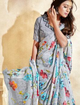 Grey Colour Saree Online