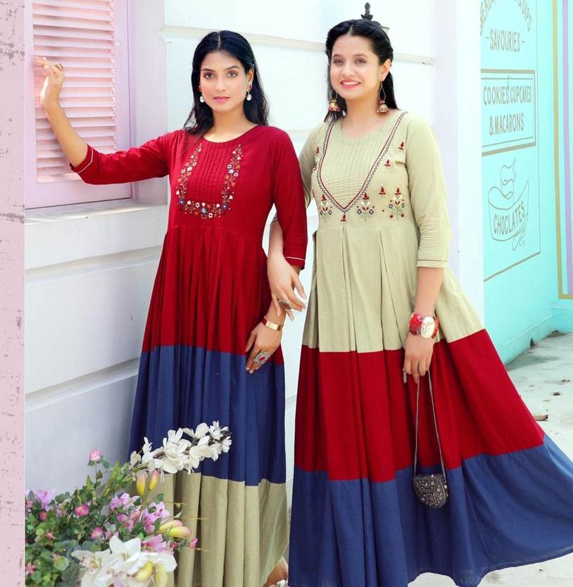 Twins Latest Designer Anarkali Kurti Long
