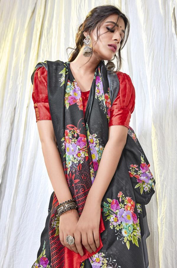 Latest Designer Black Saree with Red Blouse