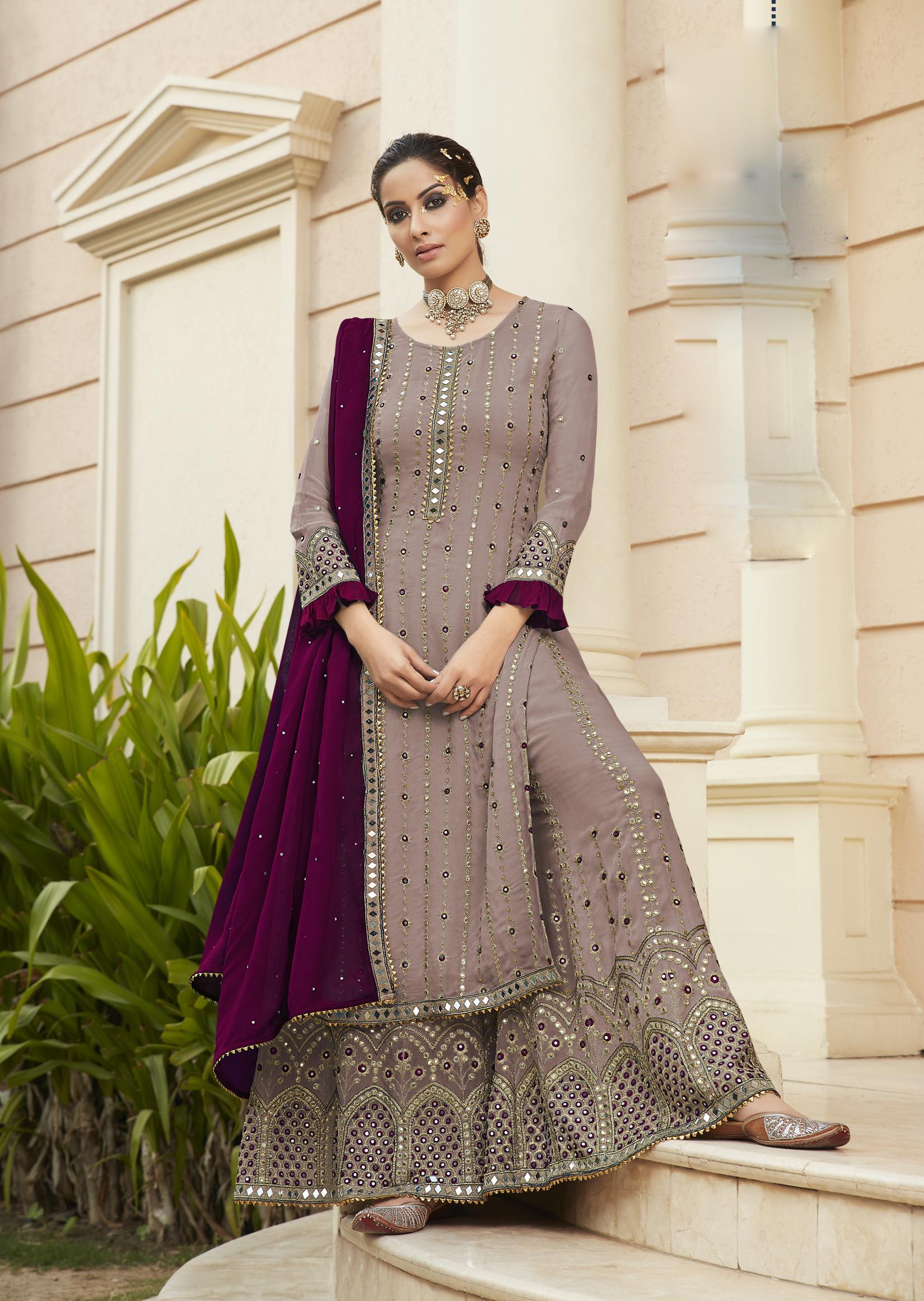 Latest Designer Bridal Punjabi Suits Baby Purple Colour
