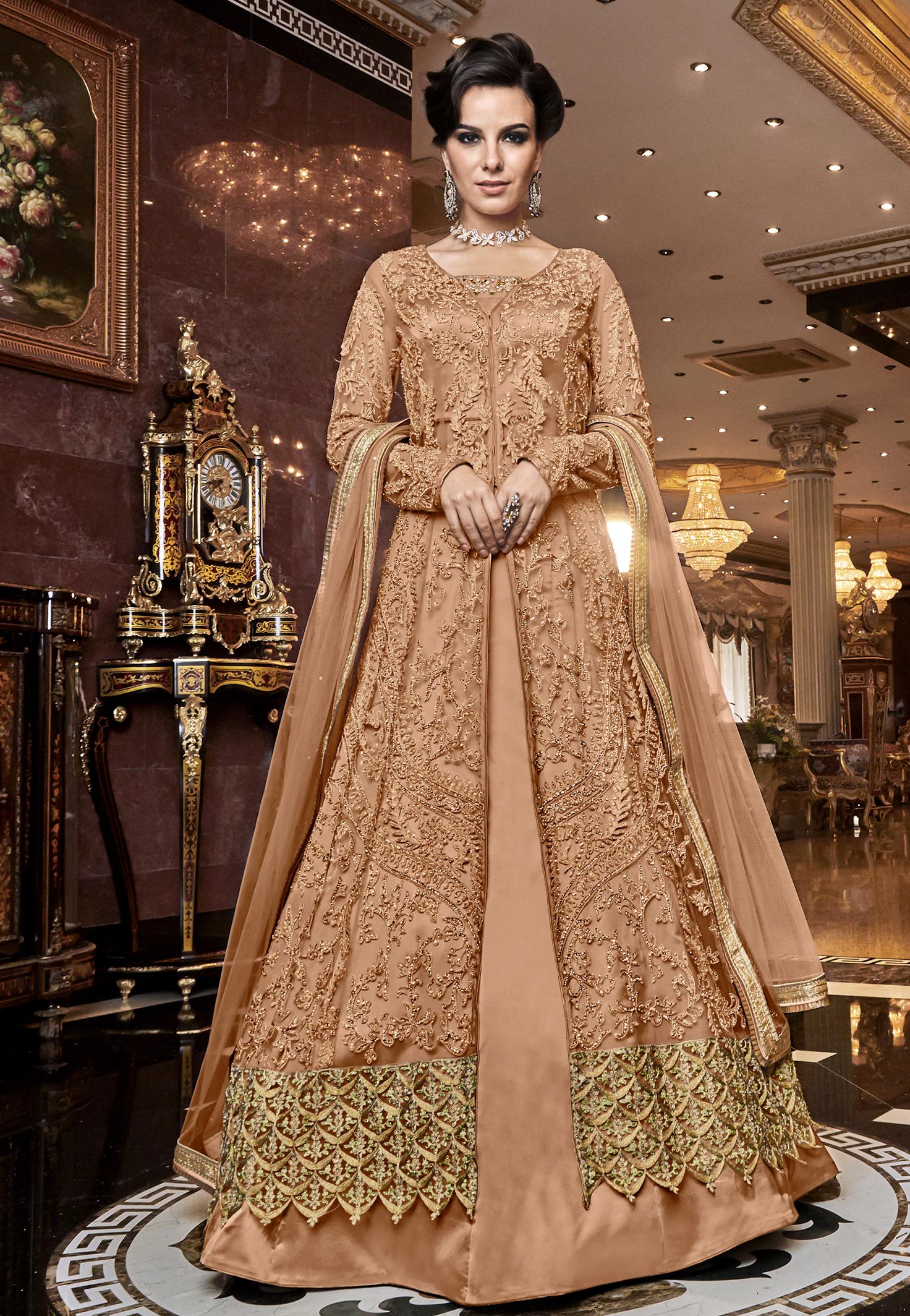 Latest Designer Front Slit Party Wear Gown Dress