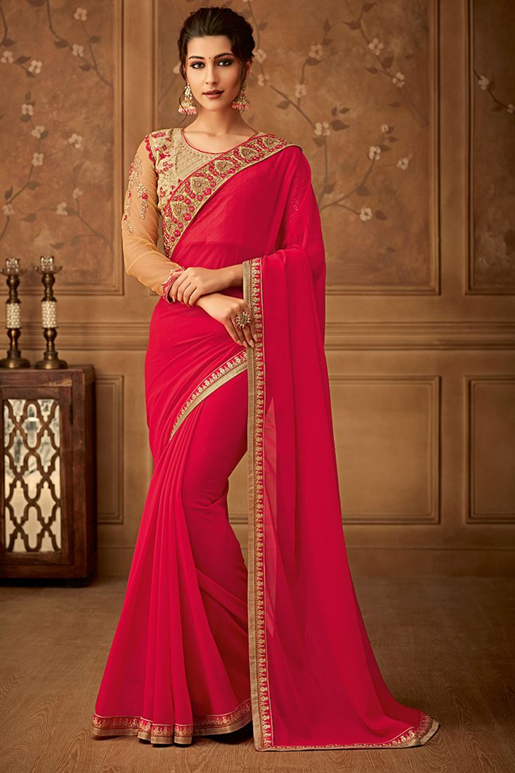 Latest Party Wear Carrot Red Saree in Silk