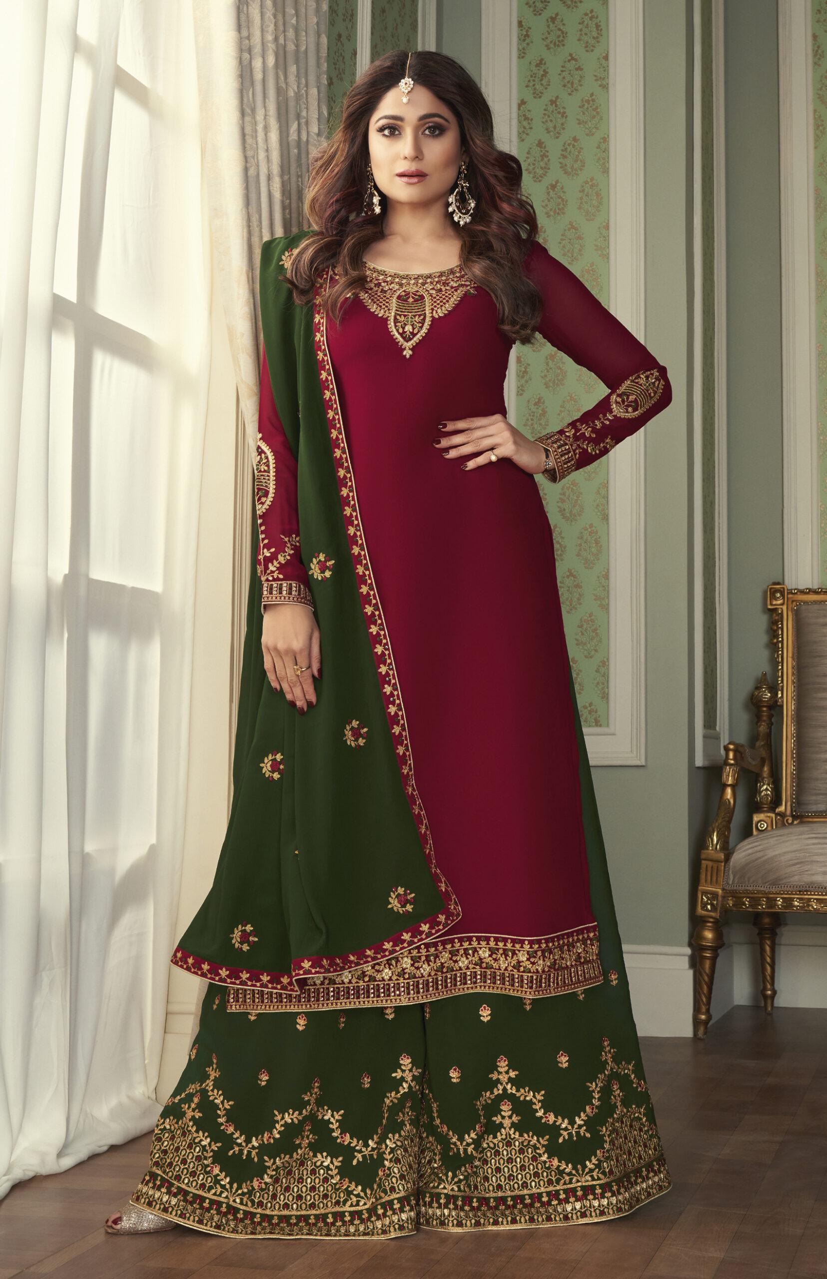 Latest Designer Contrast Combination Punjabi Suits Online