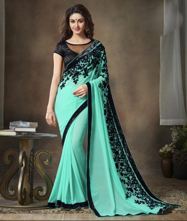 New DesignerTurquoise and Black Colour Contrast Blouse Saree