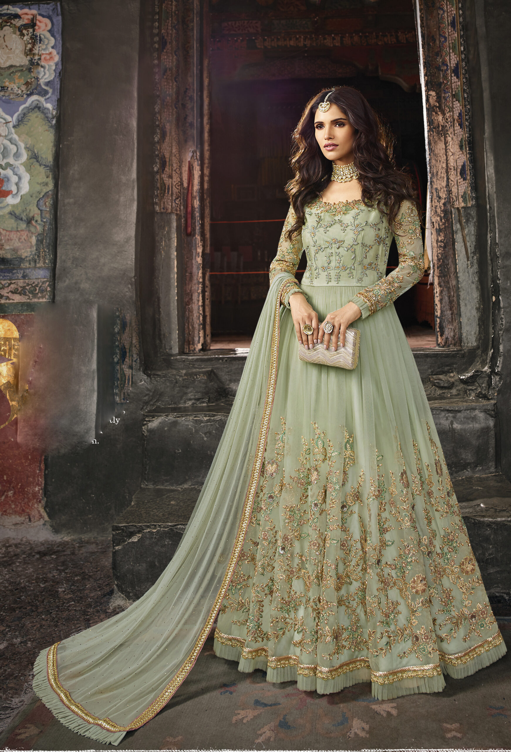 Party Wear Designer Gown Heavy Embroidered with Dupatta