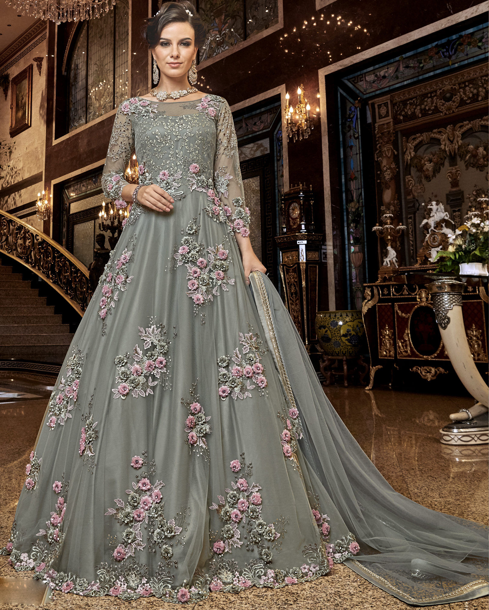 Party Wear Grey Colour Gown Design New
