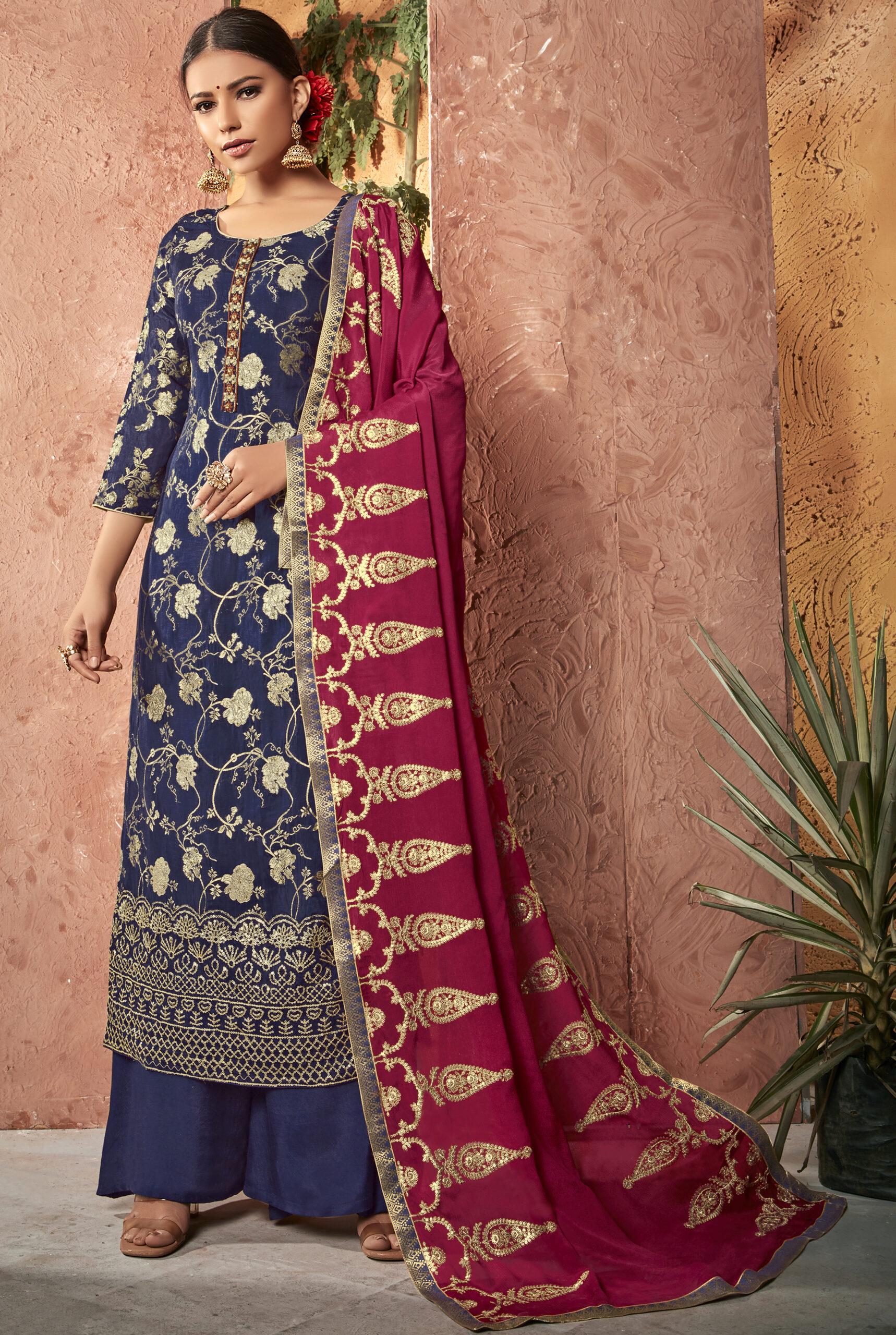 Party Wear Salwar Kameez Royal Blue Colour
