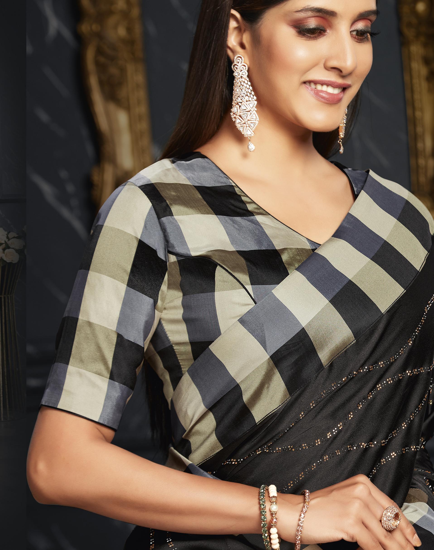 Party Wear Saree Black Check Print