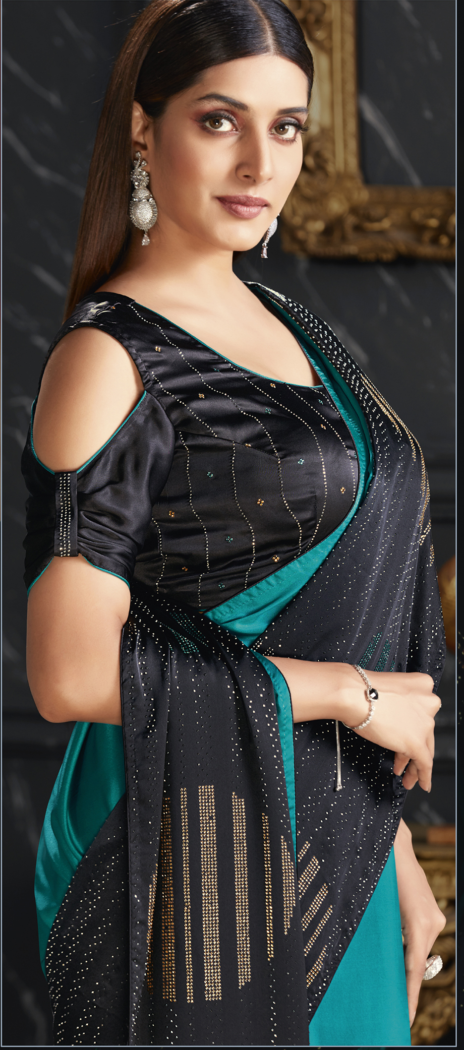 Party Wear Saree Black and Turquoise Blue
