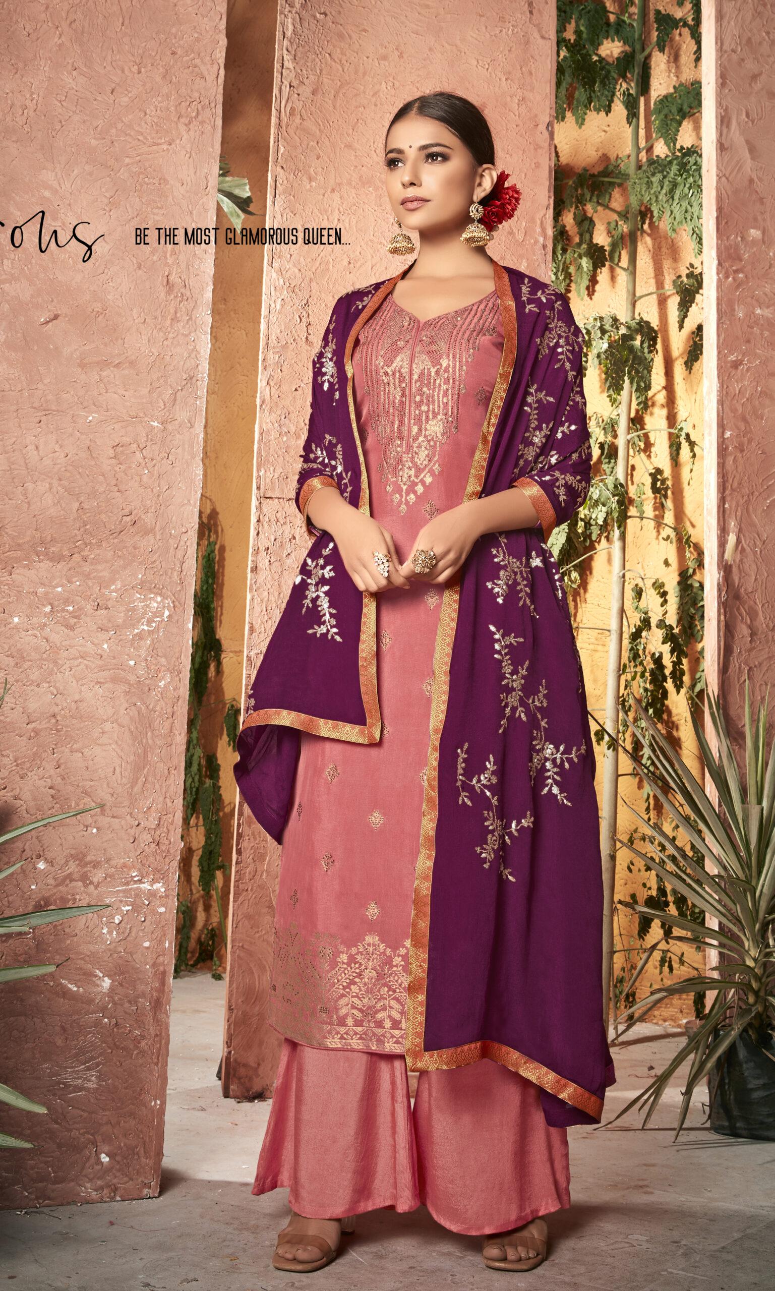 Pink Colour Salwar Suits Party Wear