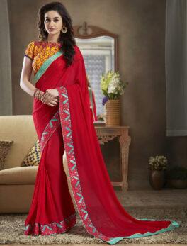 Plain Chiffon Bridal Red Saree