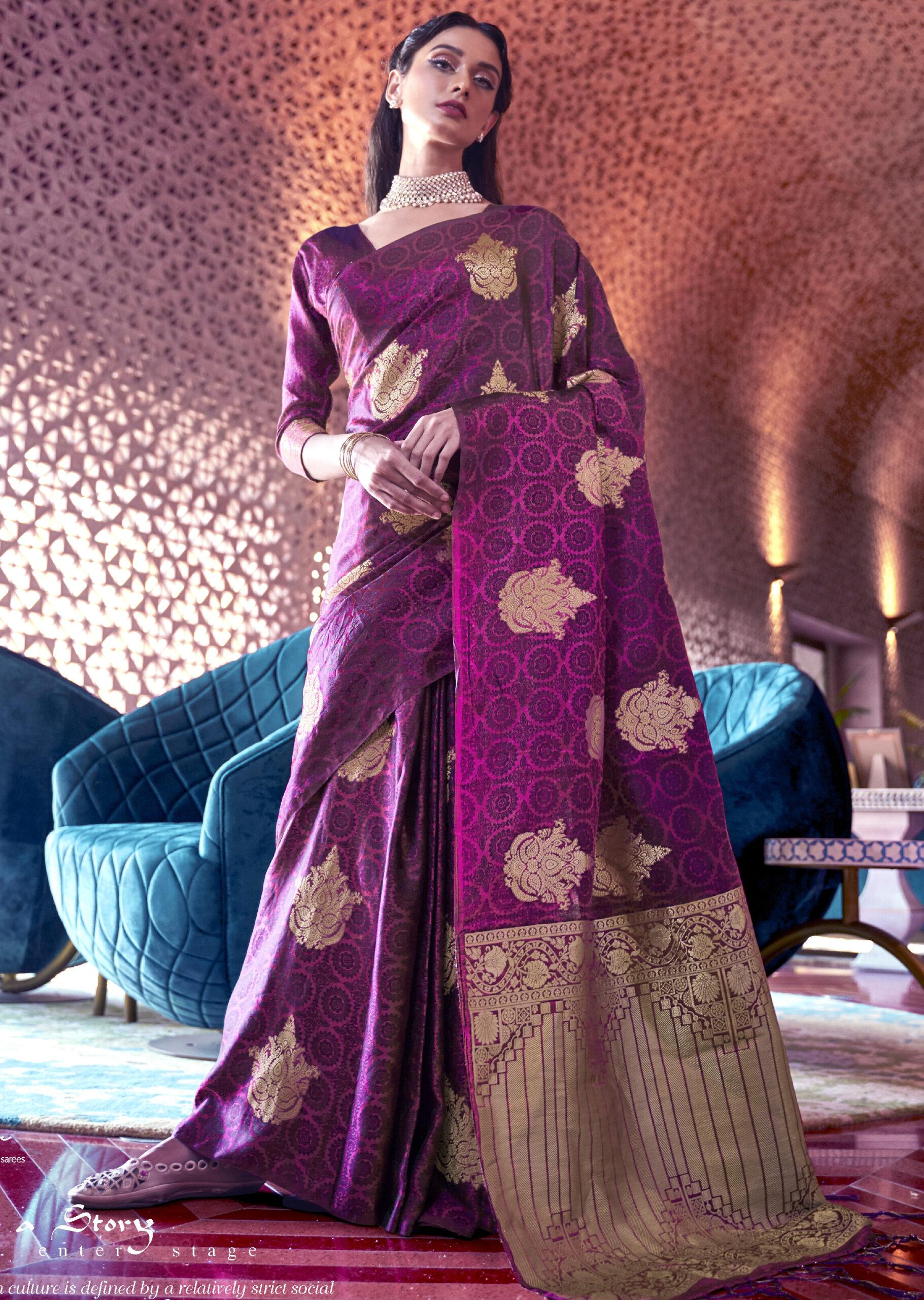 Purple Colour Best Silk Saree Online