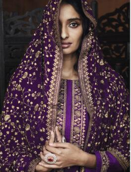 Purple Colour Heavy Dupatta Salwar Suits for Women
