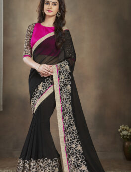Red with Black Saree Online