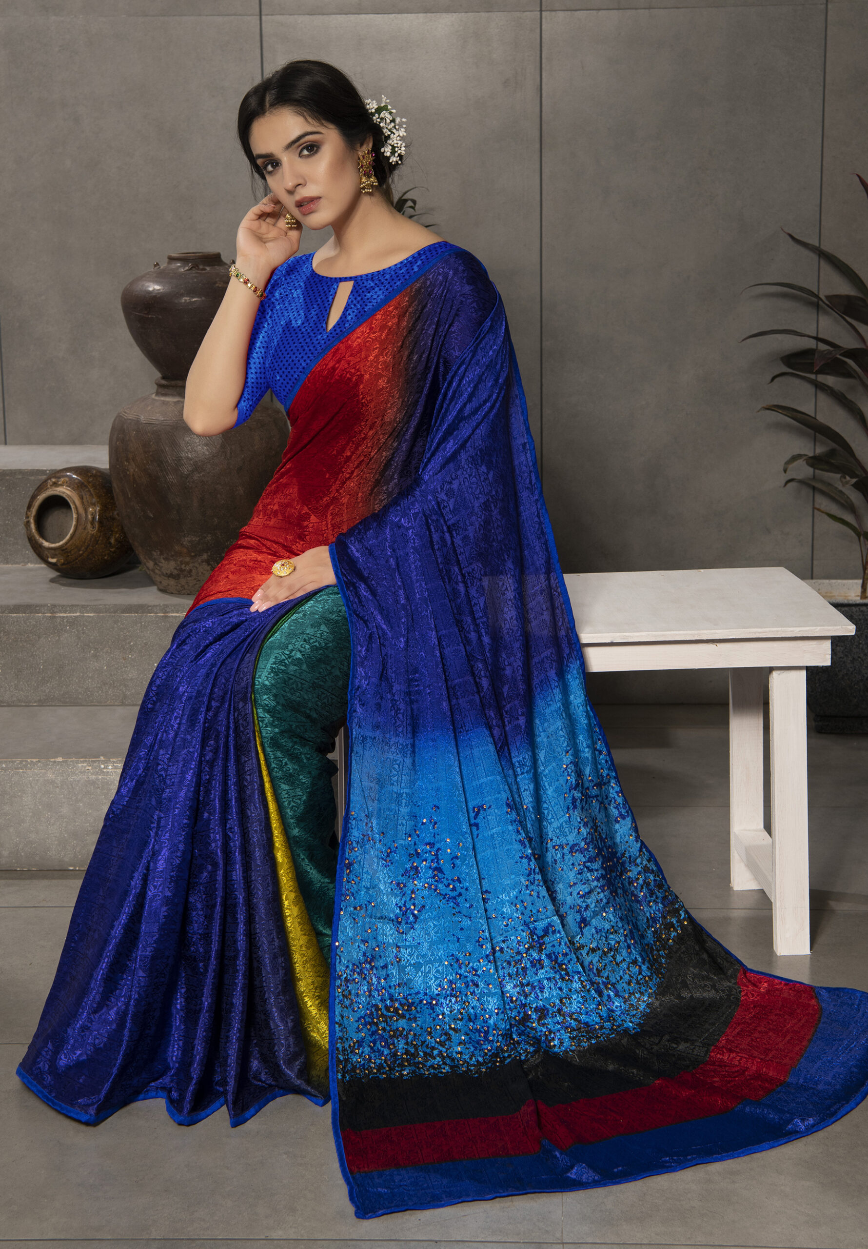 Royal Blue Digital Print Satin Silk Saree