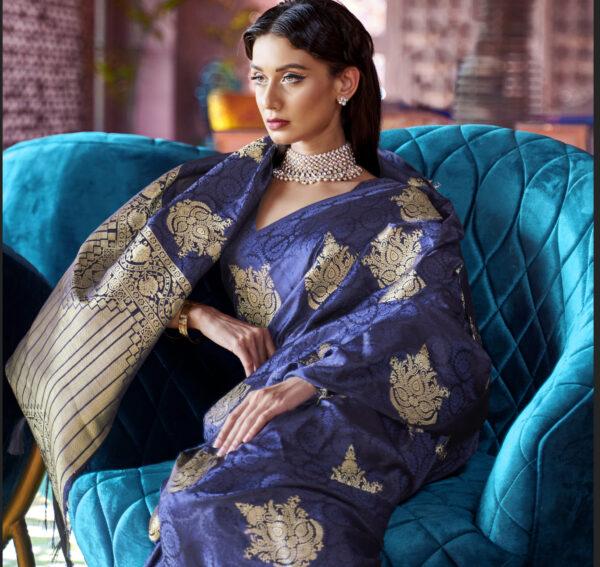 Royal Blue Silk Saree Silver Border