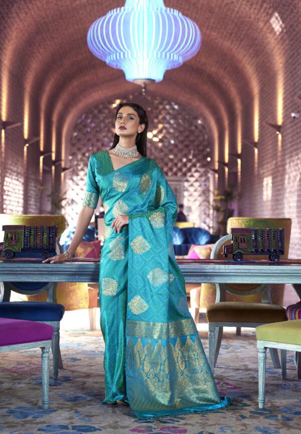 Sky Blue Silk Saree Design New