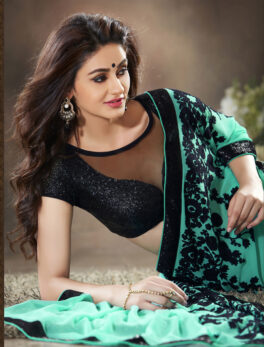 Turquoise Blue Saree with Contrast Blouse
