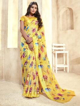 Yellow Colour Linen Saree Online 2021