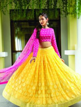 engagement look for bride in lehenga