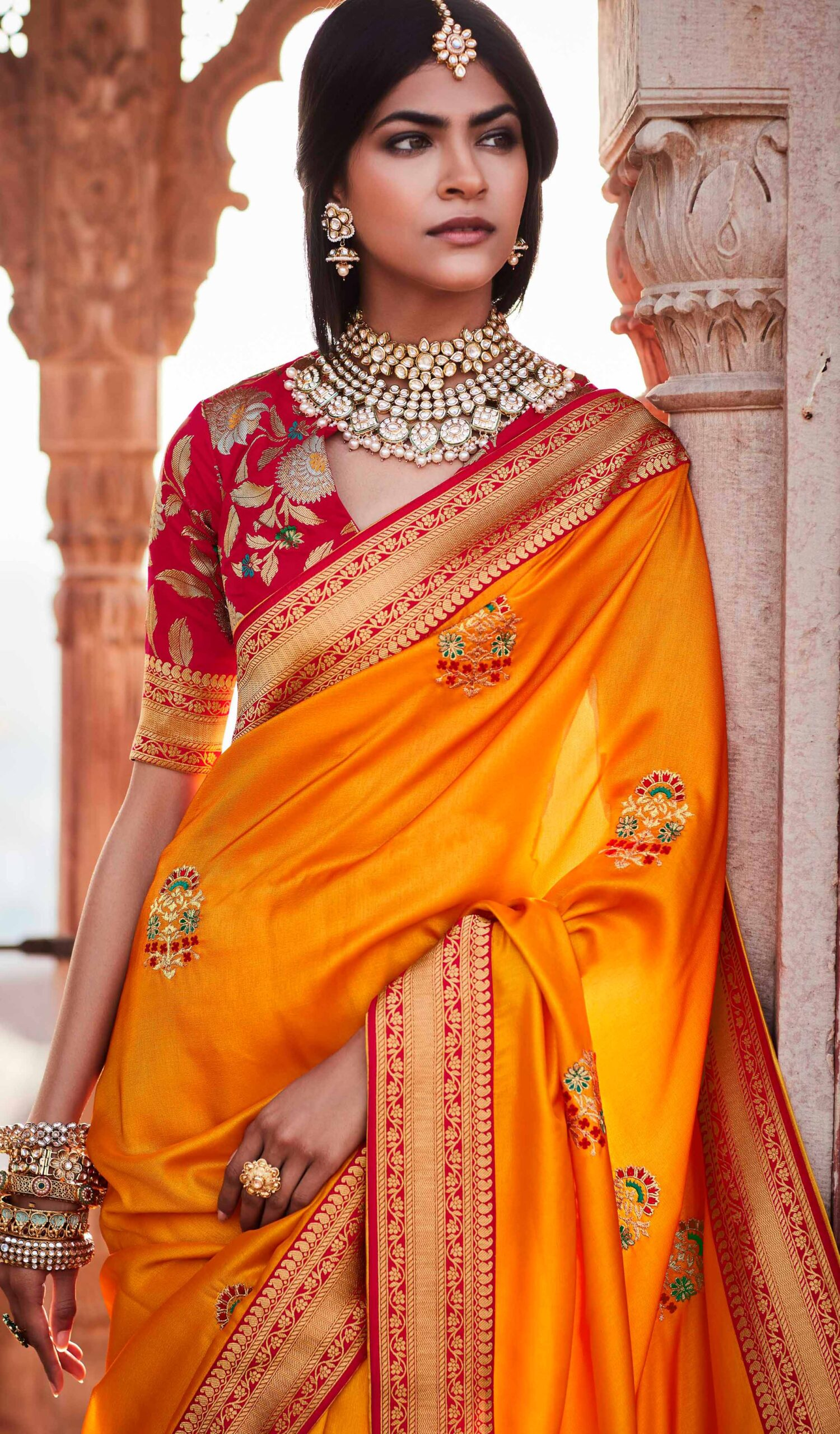 Contrast Blouse New Saree Design 2021 in Yellow Colour