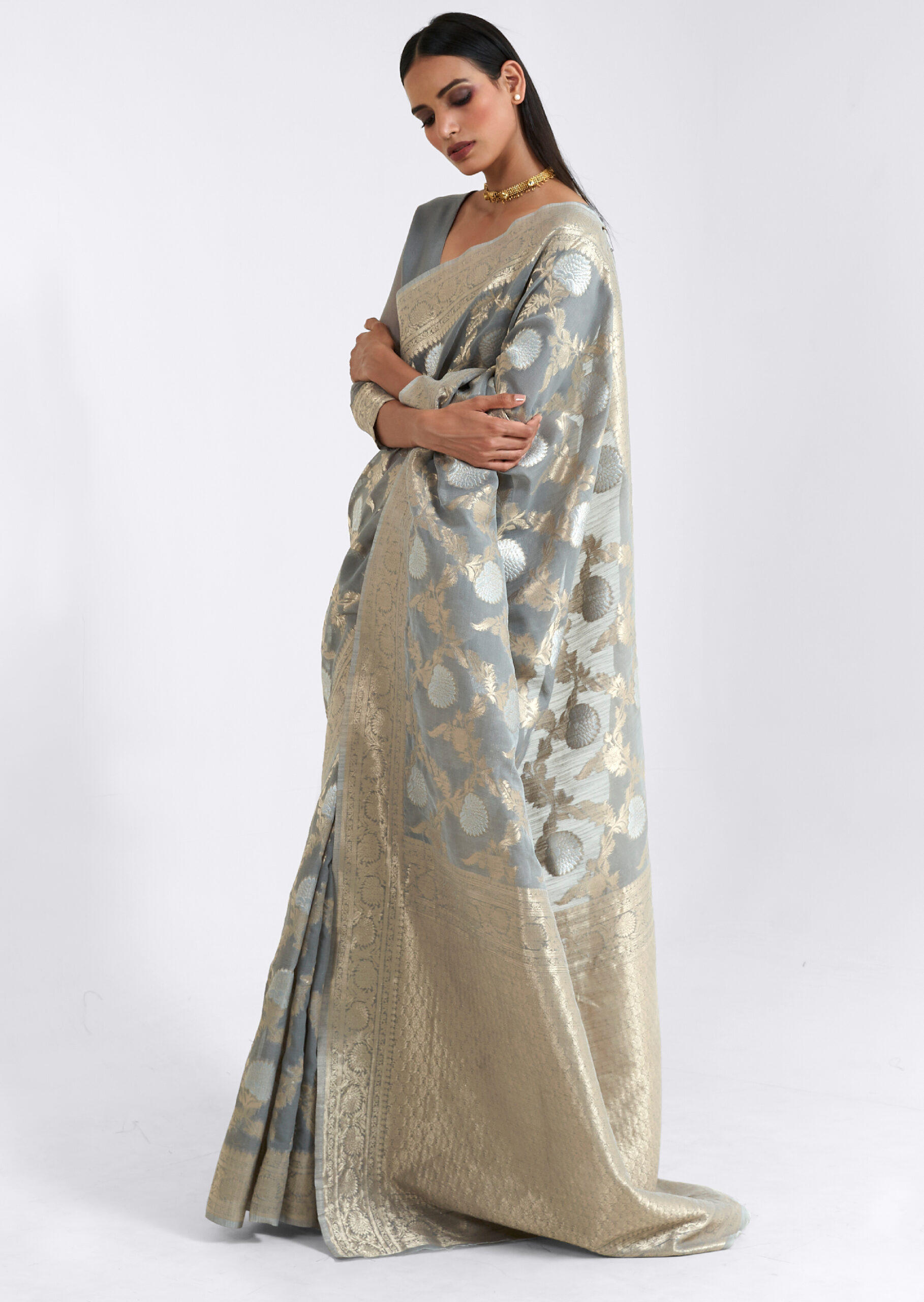 Grey Colour Saree Party Wear with Price