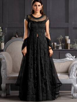 Designer embroidered black gown party wear
