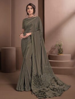 Khaki Colour Saree in Soft Silk