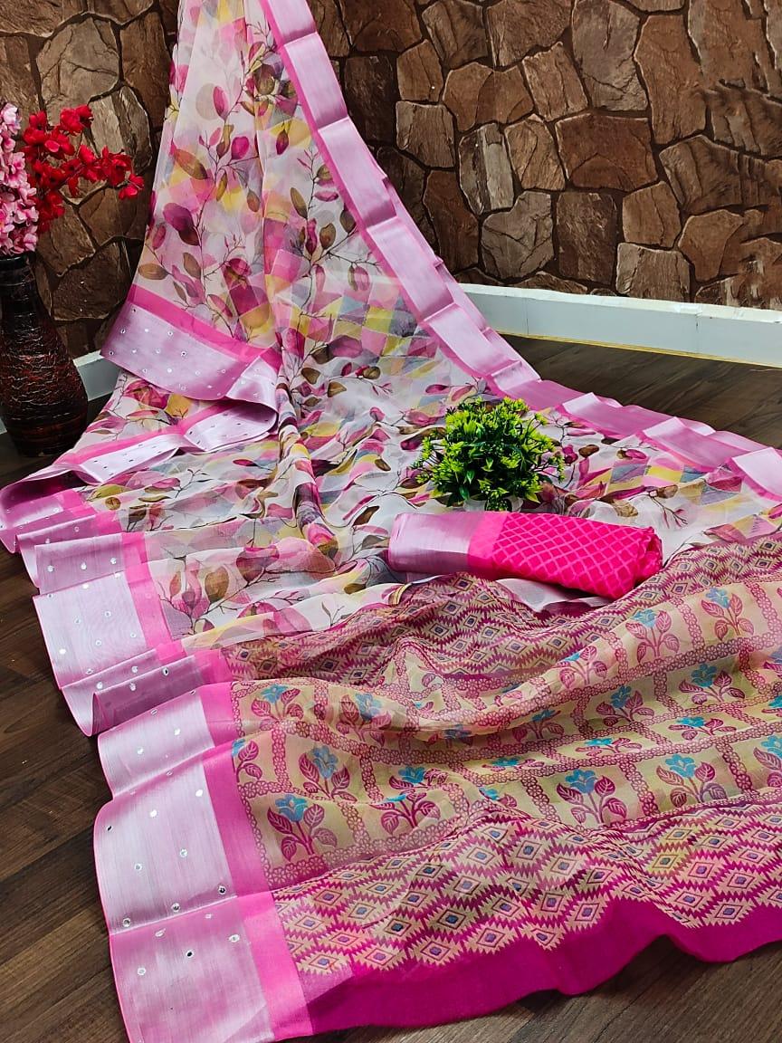 Best Designer Organza Silk Saree in Floral Pink