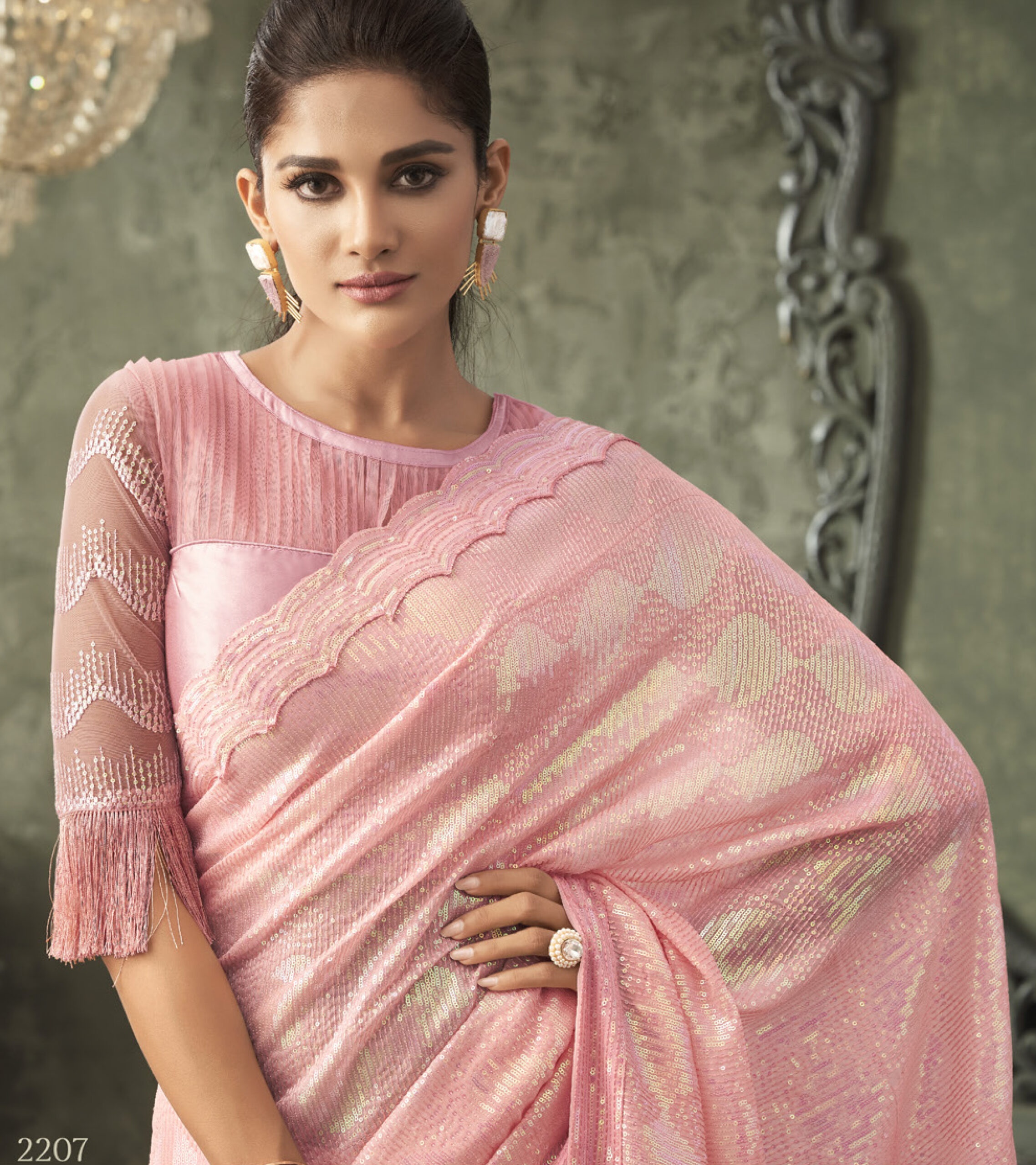 Heavy Designer Sequin Saree in Pink