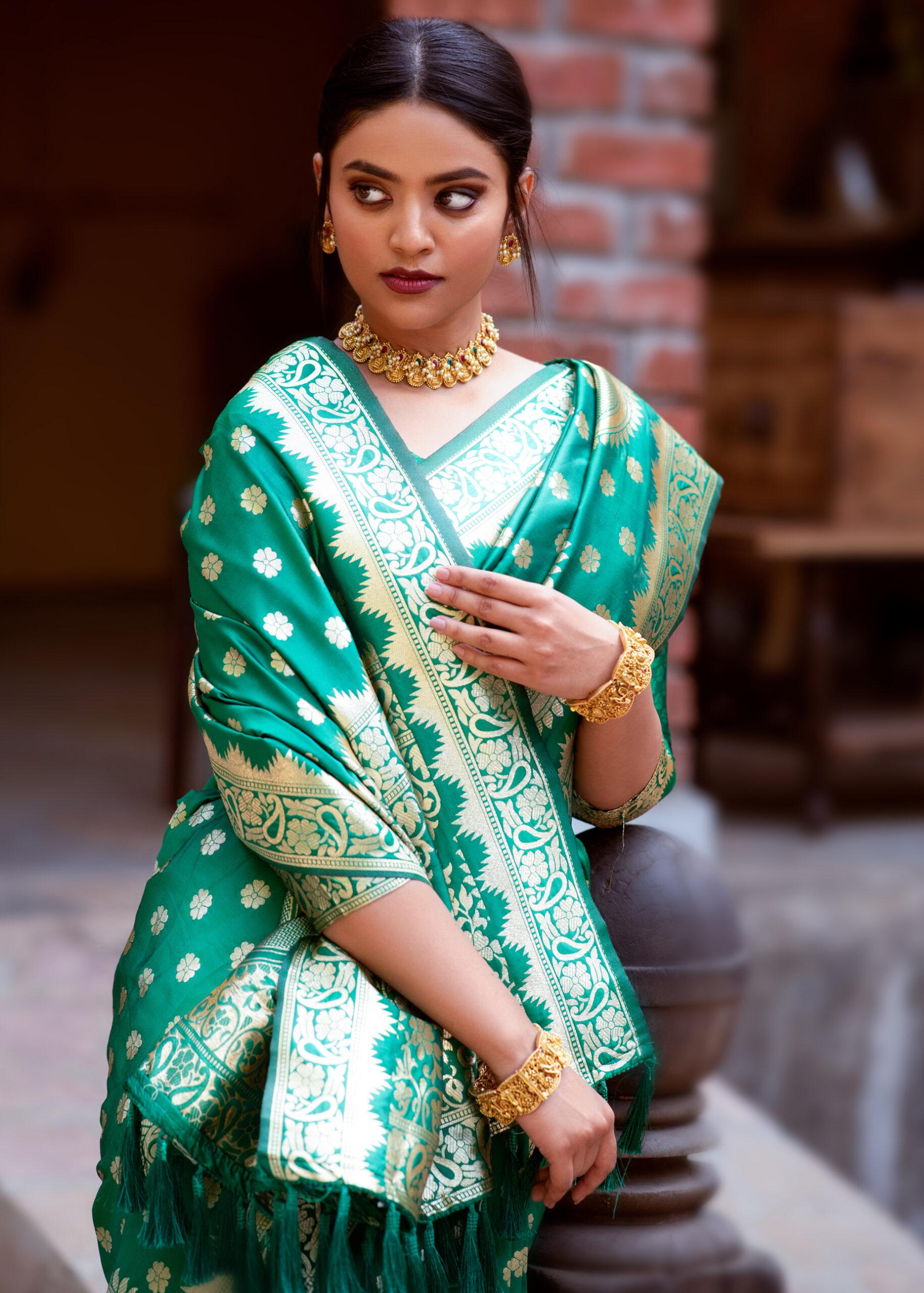 Latest Banarasi Silk Saree in Green