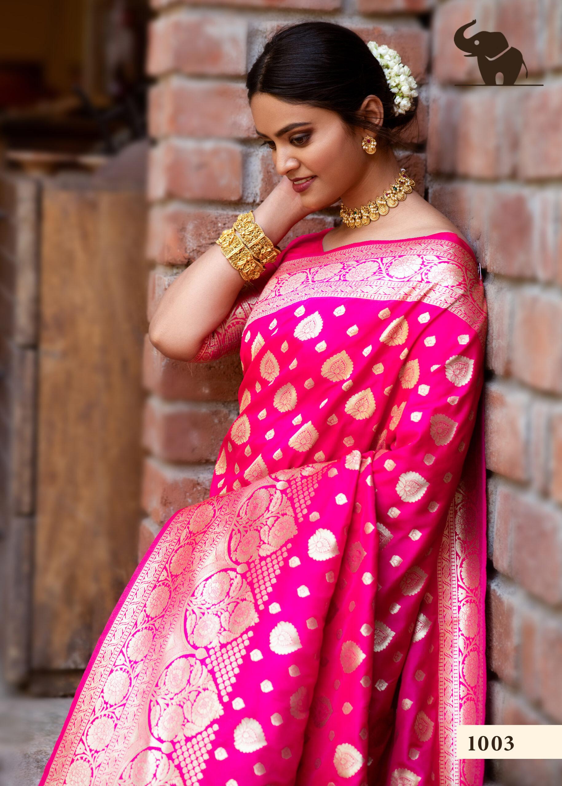Magenta Colour Banarasi Saree