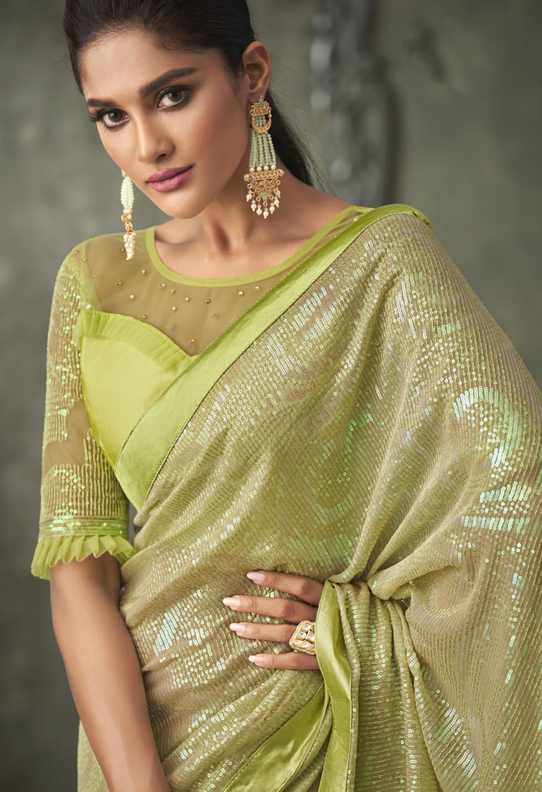 New Designer Green Sequin Saree 2021