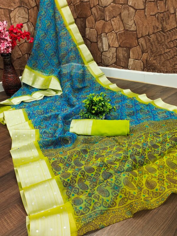 Organza Saree in Blue with Parrot Colour Border