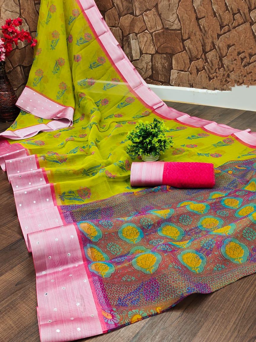Organza Saree in Lemon Green with Pink Classy Border