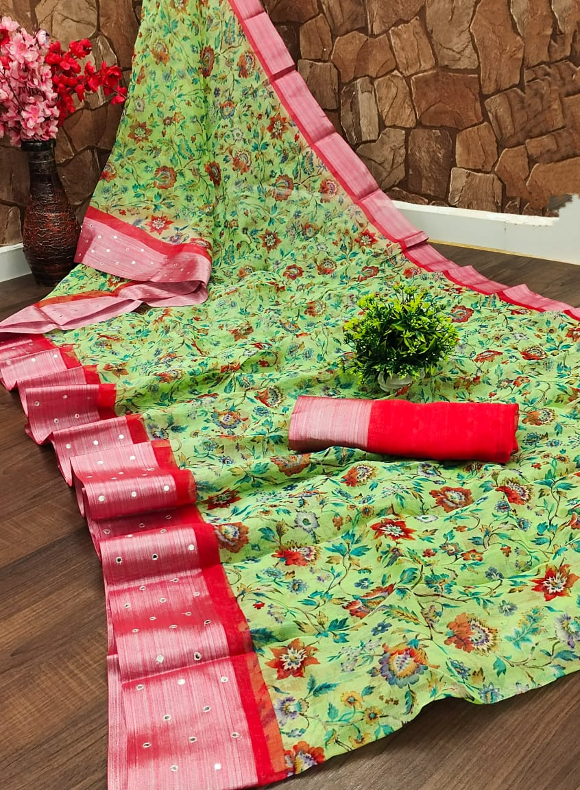 Organza Saree in Parrot Green with Red Border