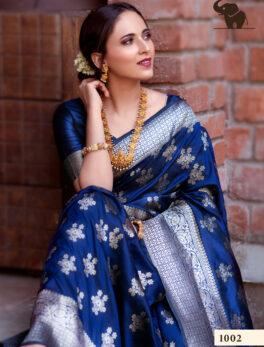 Party Wear Banarasi Siilk Saree in Blue Colour