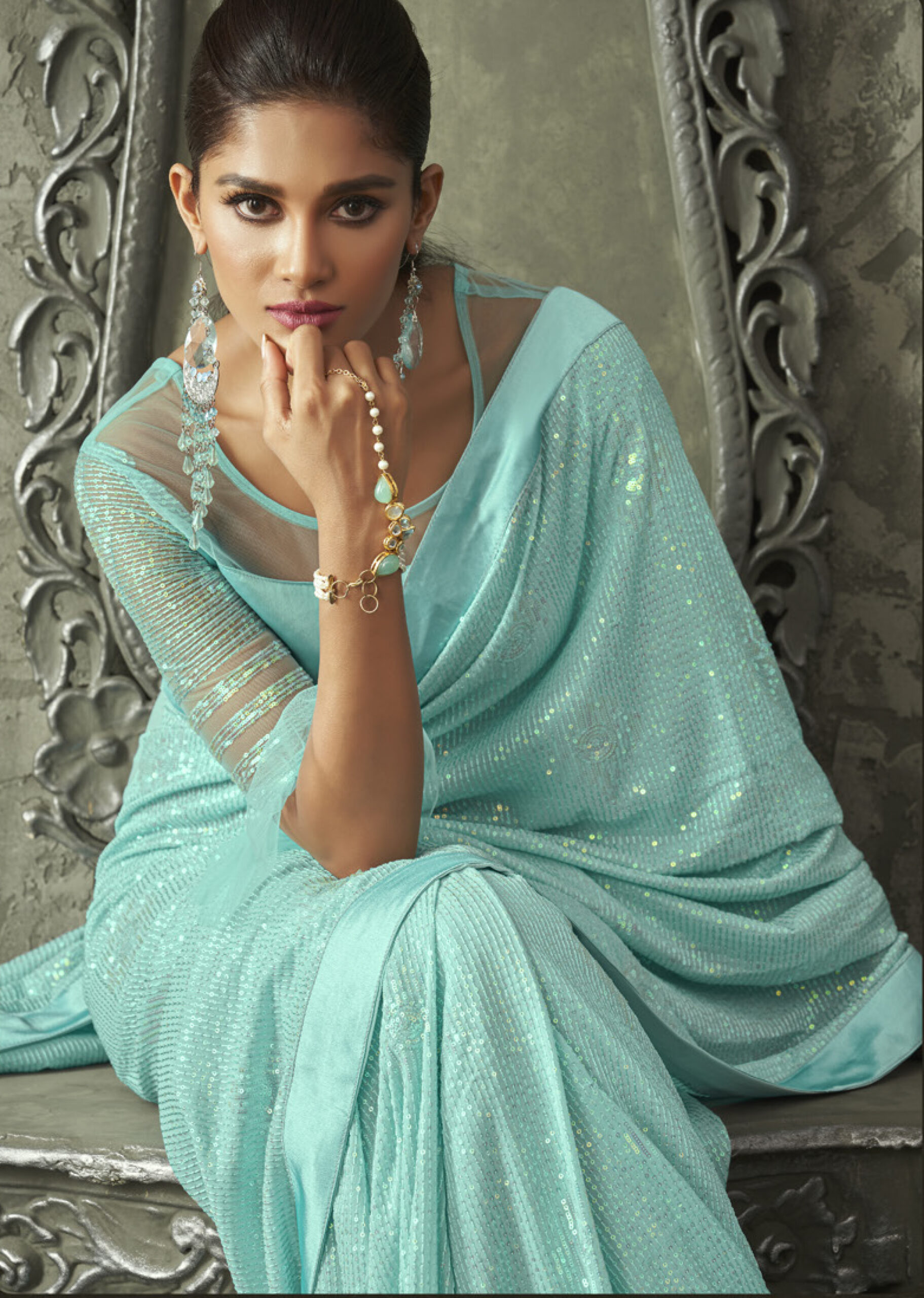 Party Wear Designer Turquoise Blue Sequence Saree scaled