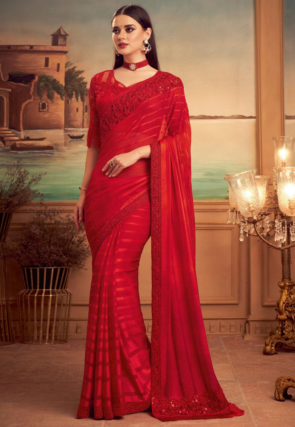 Party Wear Hot Red Chiffon Saree Heavy Resham Work