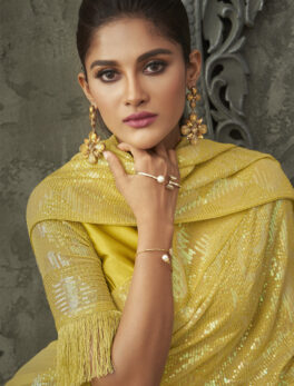Real Asterisk Yello Colour Luxury Saree for Wedding Online