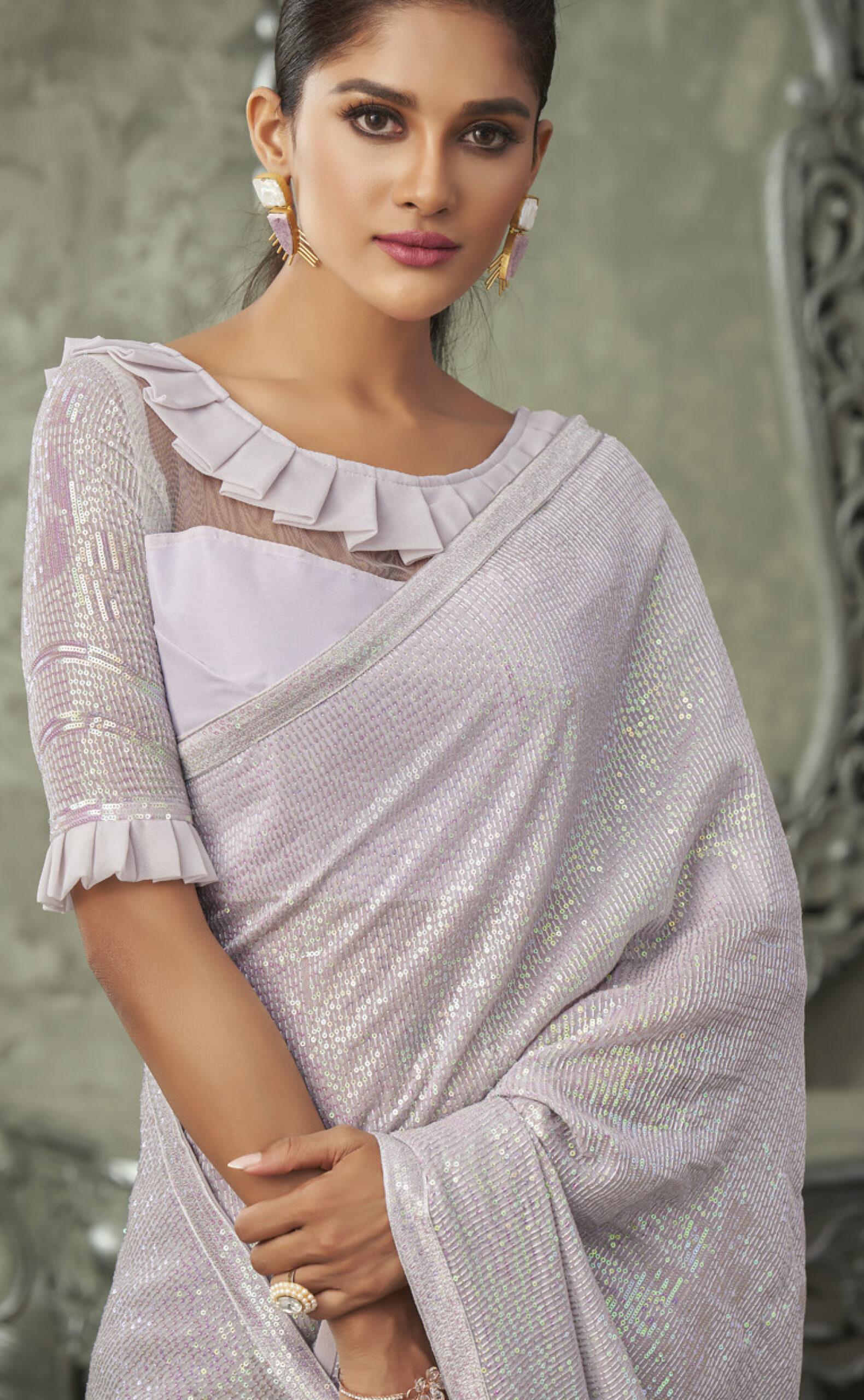 Silver Colour Sequin Saree Heavy Designer Blouse