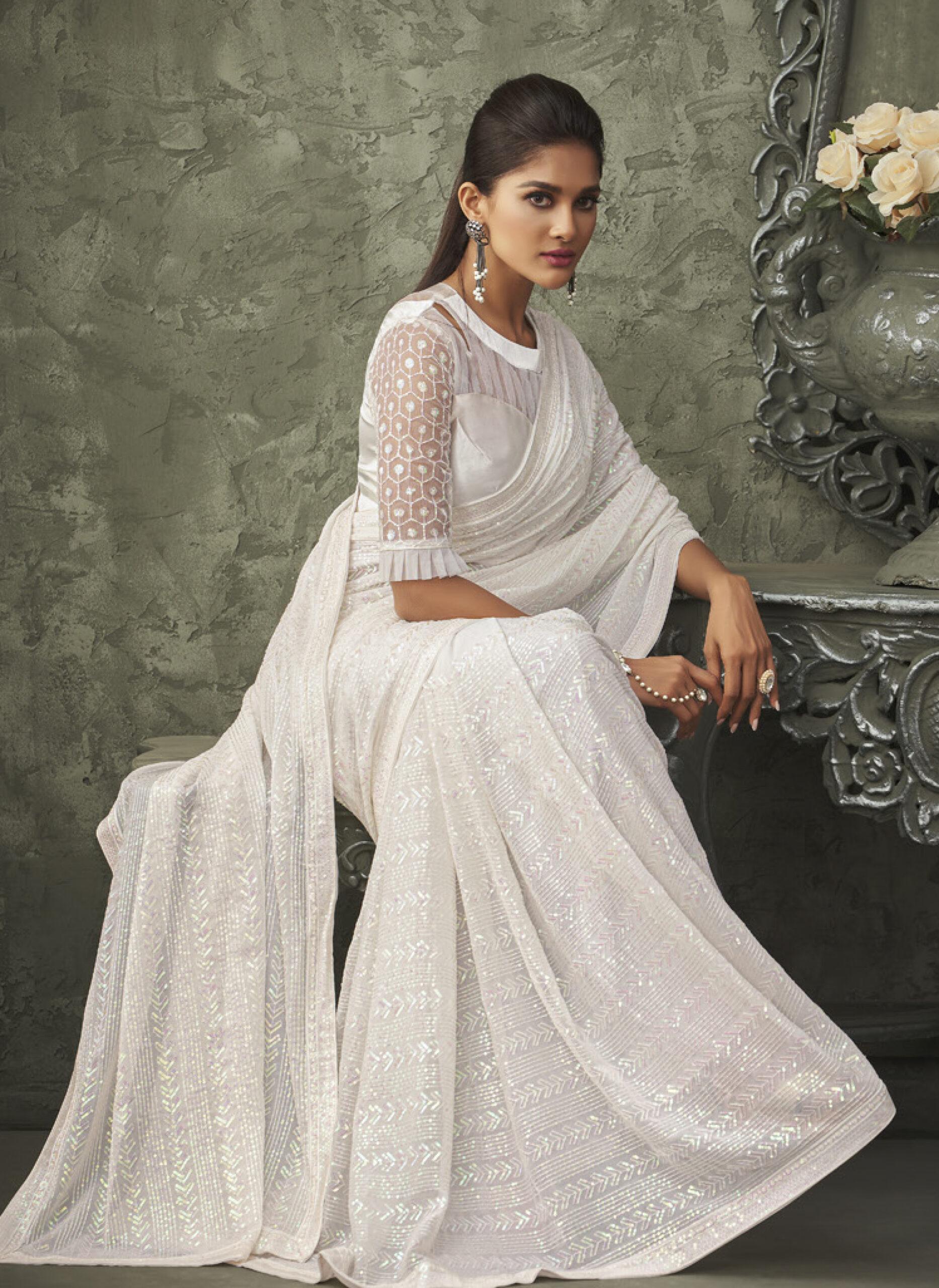 White Sequin Saree for Reception Wear