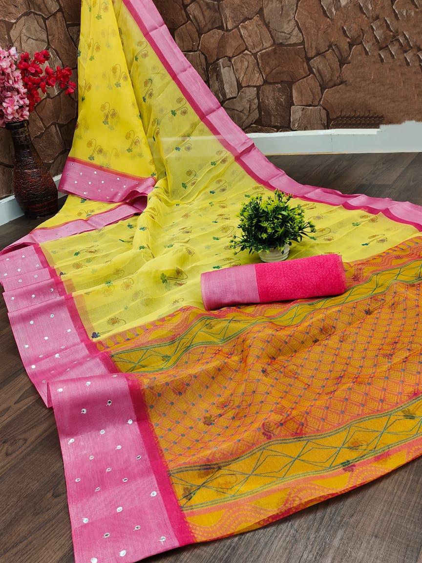 Yellow Organza Silk Saree with Classy Red Border